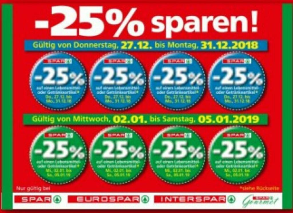 [Interspar, Eurospar, Spar, G-S] -25% Rabatt Sticker von 4.2. bis 9.2.2019