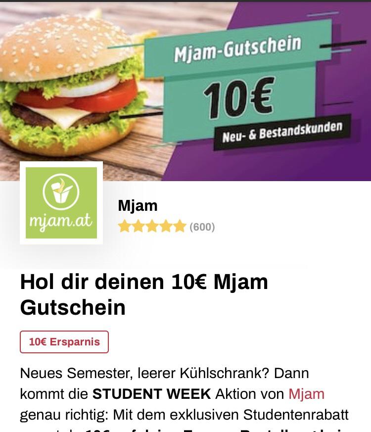 10 Euro Mjam Gutschein für Studenten (Iamstudent)