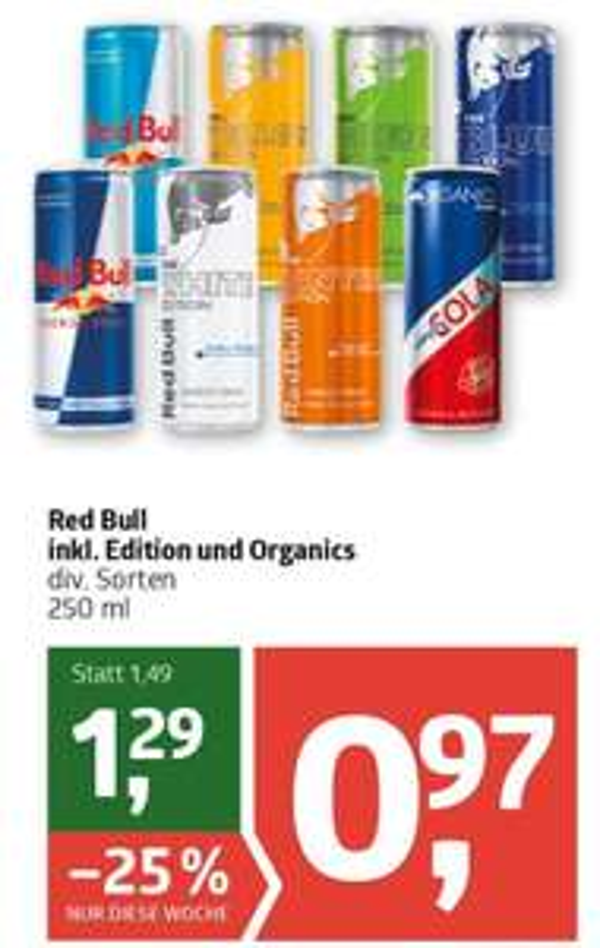 Red Bull diverse Sorten inklusive Organics bei ADEG