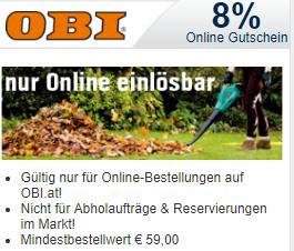 [OBI.at] 8 % Rabatt Gutschein generieren / MBW: 59 Euro - Anleitung