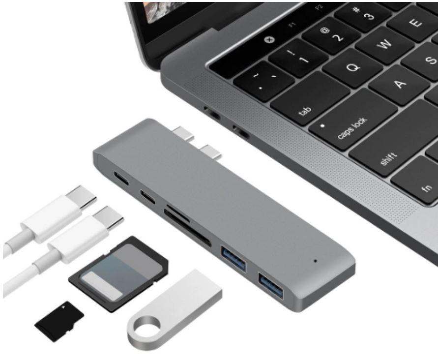Dual Type-C USB 3.0 HUB Combo (2x Type-C, 2x USB 3.0, TF Card, SD Card)