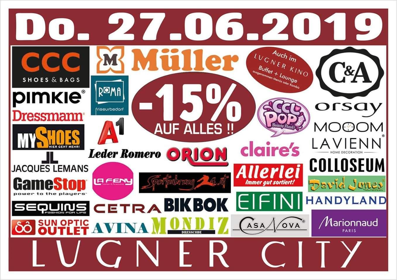 Lugner City: -15% auf alles in 33 Shops