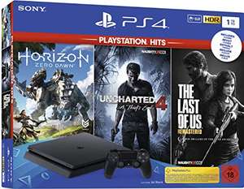 Sony PlayStation 4 Slim - 1TB PlayStation Hits Bundle (Uncharted 4, The Last of Us, Horizon Zero Dawn) (+2. Controller für 299,99 €)