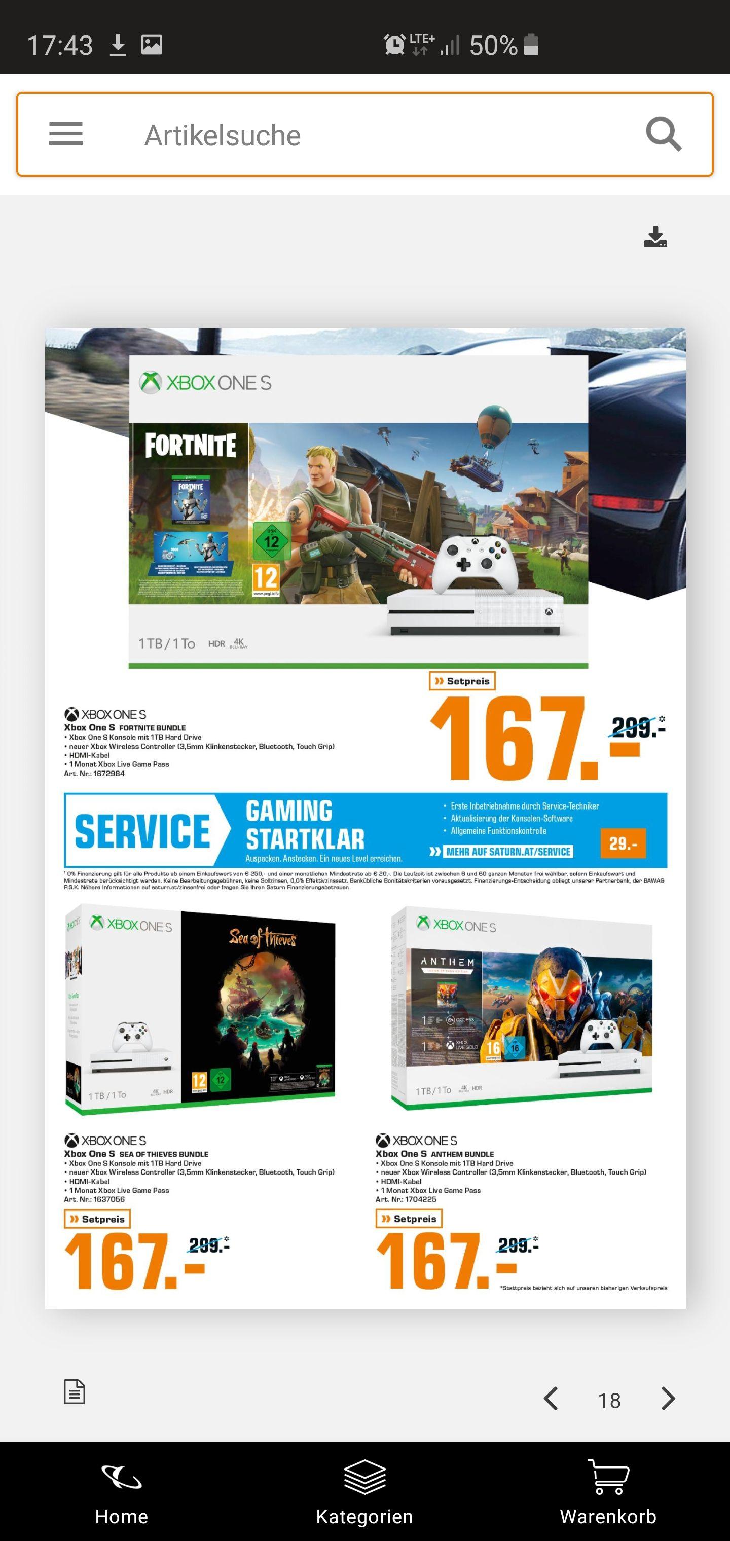 Xbox one s 1tb verschiedene Pakete ( nur im Saturn gerngross(