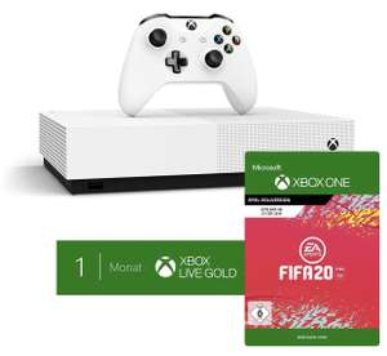 Microsoft Xbox One S 1TB - All Digital Edition [ohne optisches Laufwerk] + FIFA 20