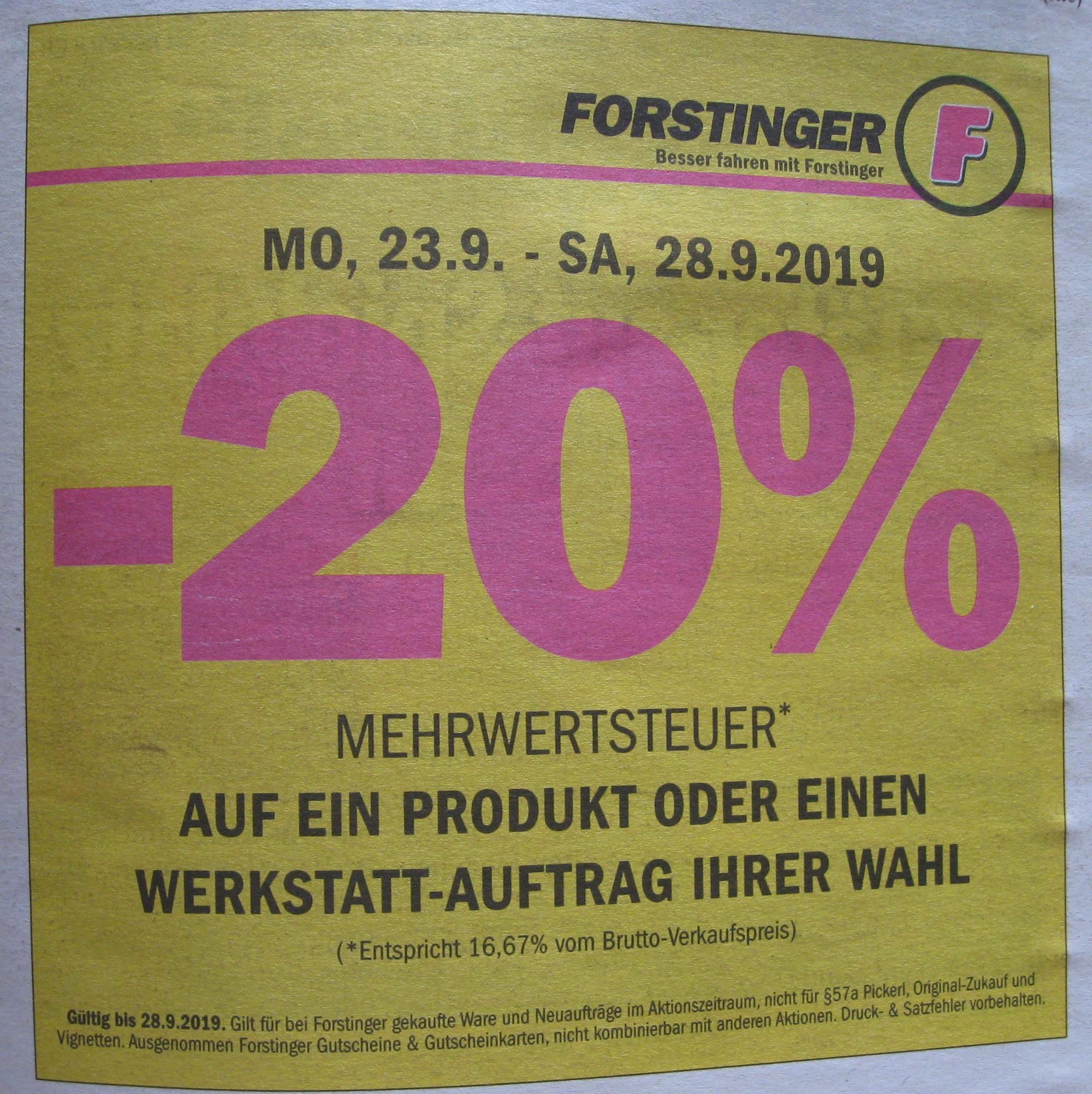 Mehrwertsteuer sparen bei Forstinger bis 28.9.2019 (Produkt / Werkstatt)