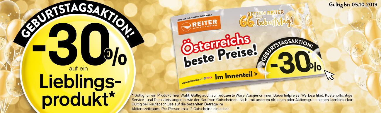 -30% Betten Reiter Geburtstagsaktion