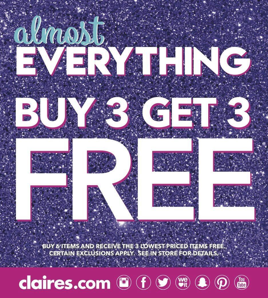 3+3 gratis auf fast alles bei Claire's