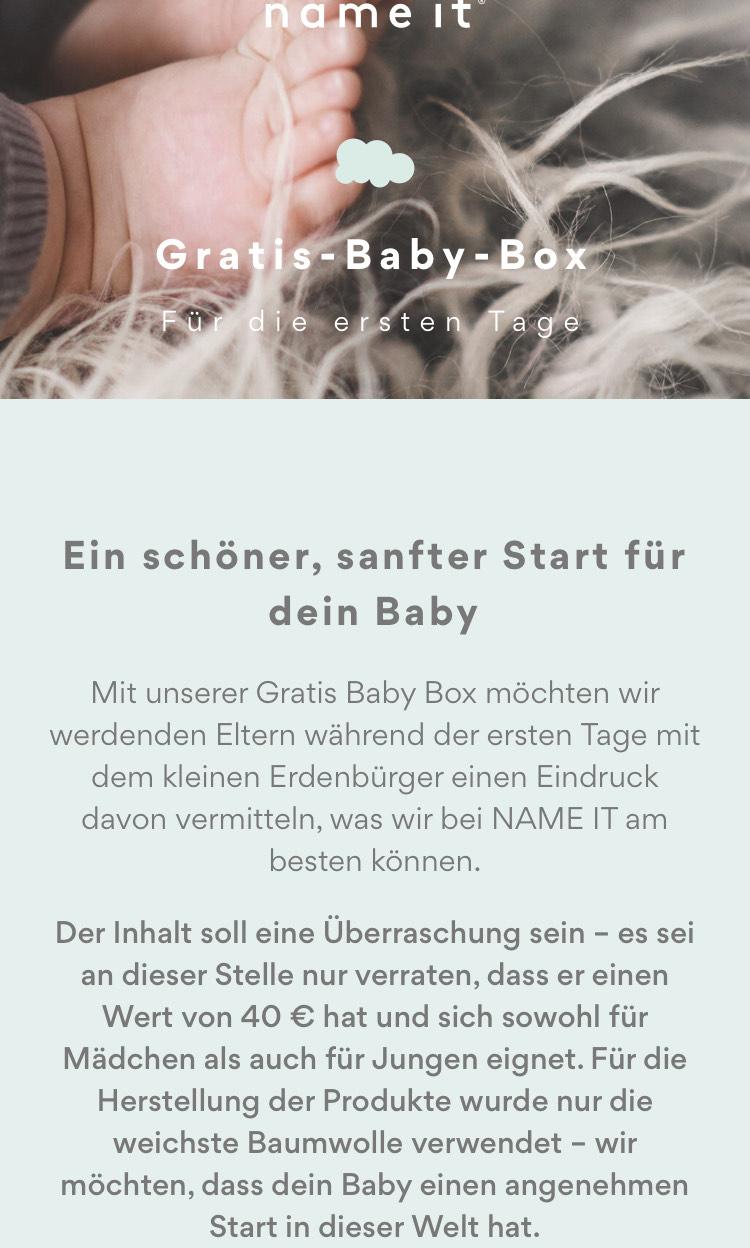 Name it-Freebie: gratis Baby-Box im Wert von € 40,—