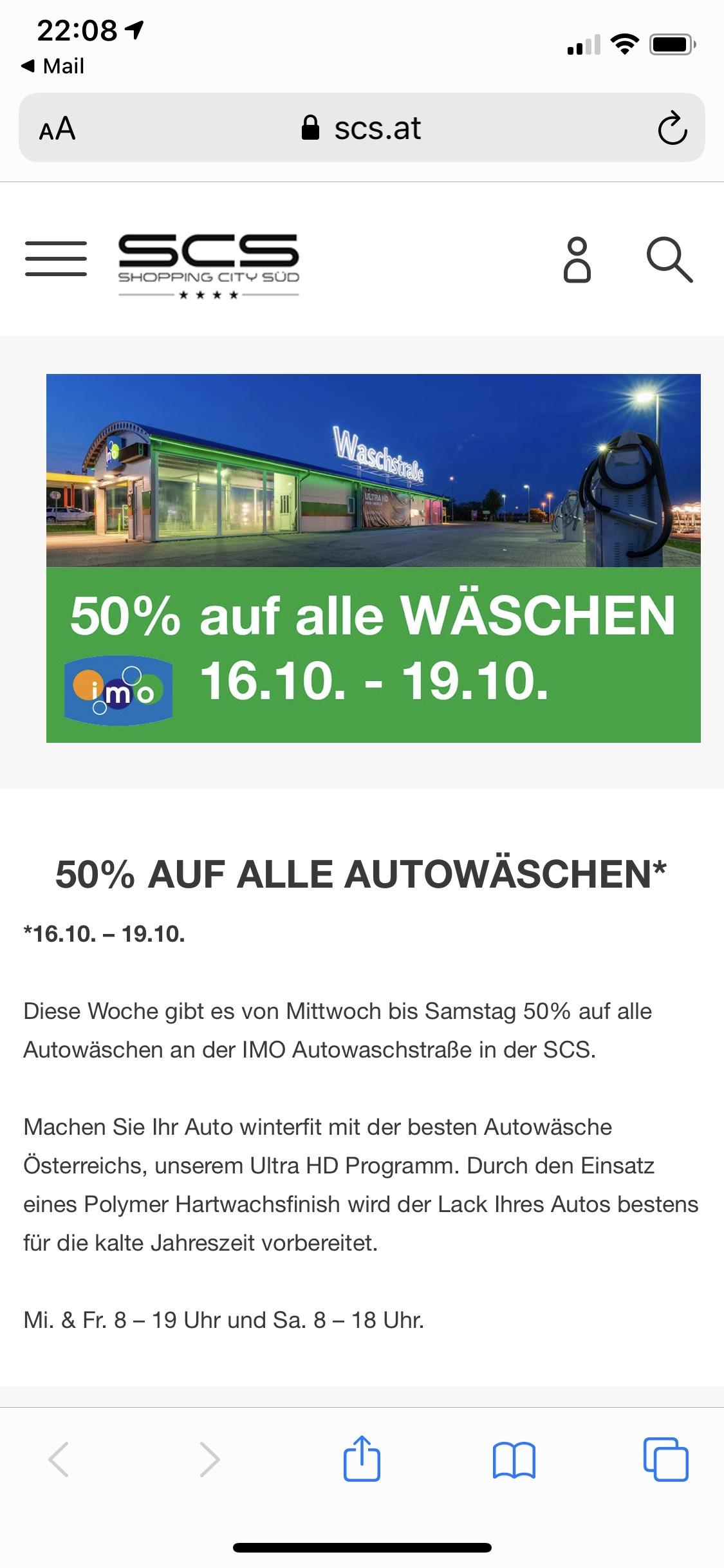50% auf alle Autowäschen, IMO Waschstraße SCS bis 19.10