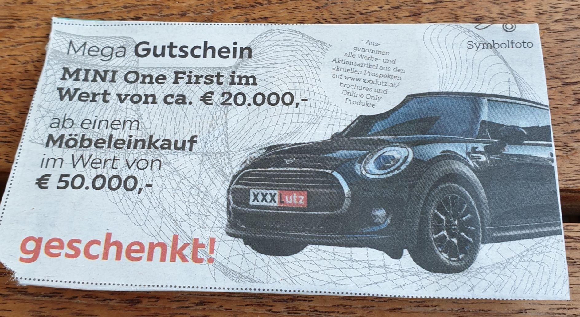 Gratis Mini One First ab einem Möbeleinkauf von 50000€