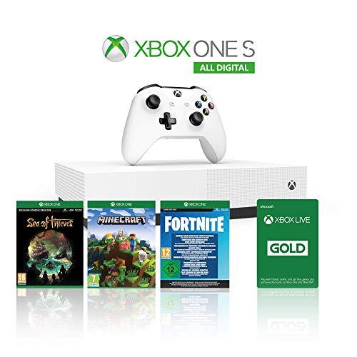 Xbox One S 1TB All Digital Edition + Sea of Thieves, Minecraft & Fortnite Legendary Evolving Skin