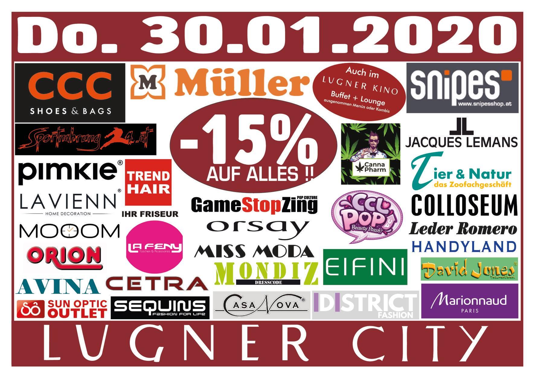 Lugner City -15% in 34 Shops