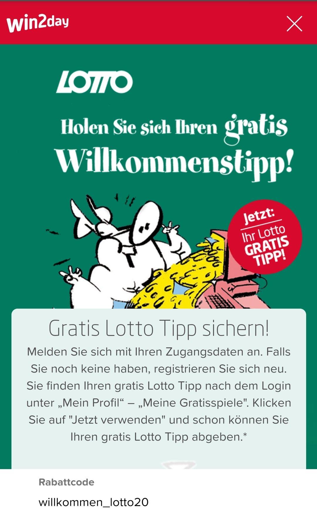 win2day.at -1,20€ bzw. GRATIS LOTTO TIPP