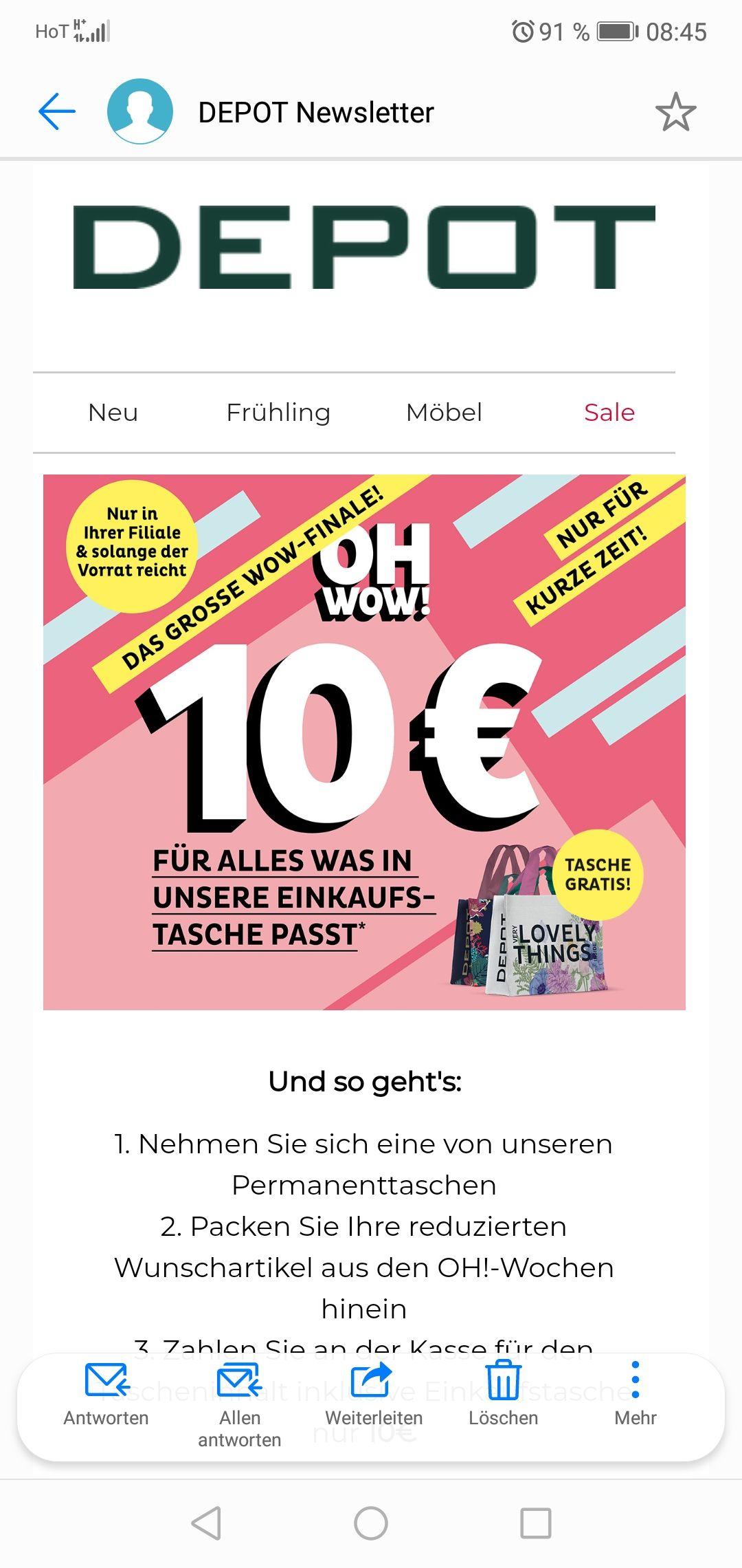 Depot alle oh Artikel die in die Tasche passen für 10 Euro
