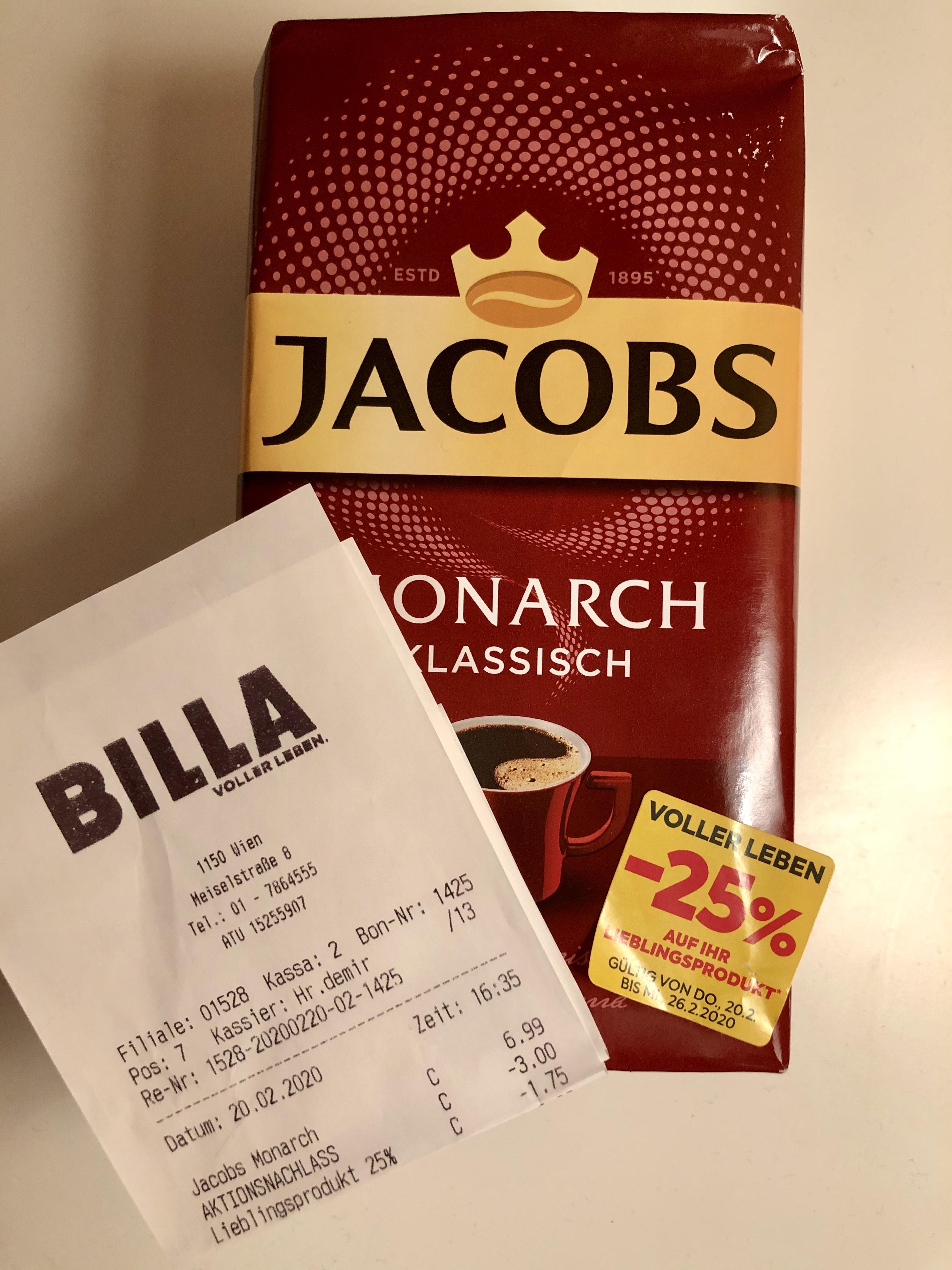 [BILLA] Jacobs Monarch 500g (Ganze Bohne oder gemahlen)