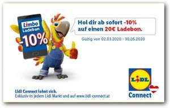 Lidl-Plus App: Minus 10% auf einen 20 € Ladebon für Lidl-Connect vom 02.03.2020 bis 30.05.2020