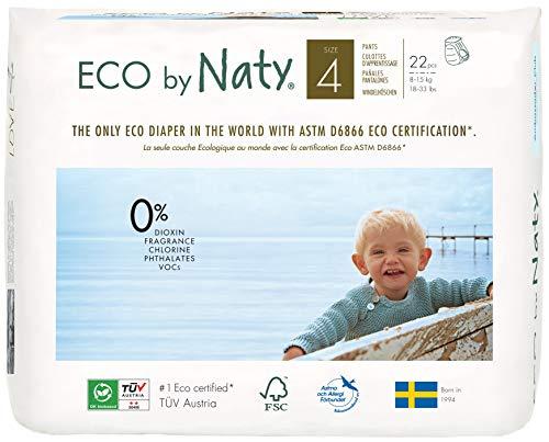 Eco by Naty, Premium-Bio‑Höschenwindeln, Größe 4, 22 Stück, 8–15 kg (Spar-Abo)