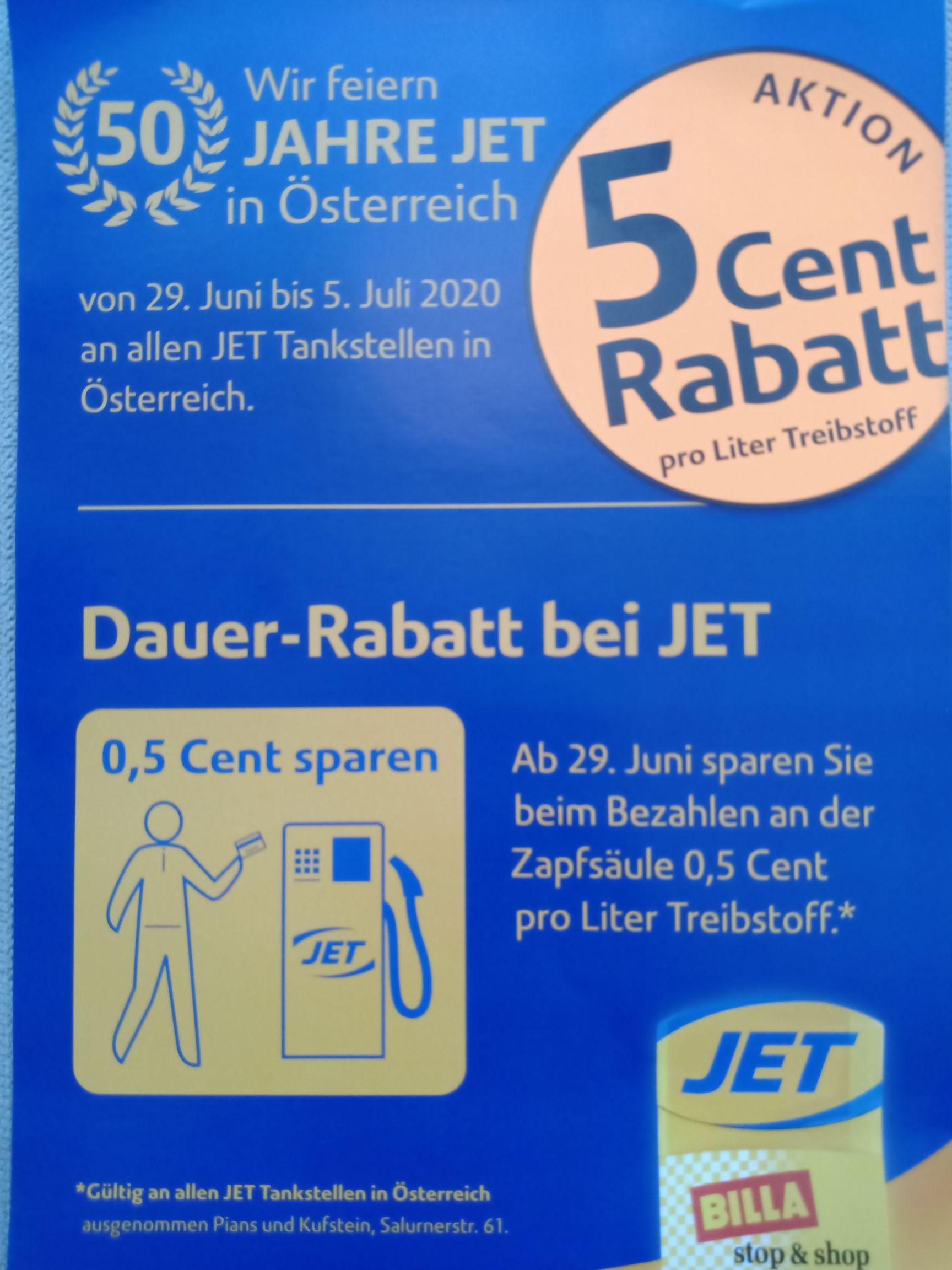 JET: Treibstoffe um 5 Cent günstiger von 29.Juni - 5.Juli / dauerhaft ab 29.Juni: -0,5 Cent bei Zahlung an Zapfsäule