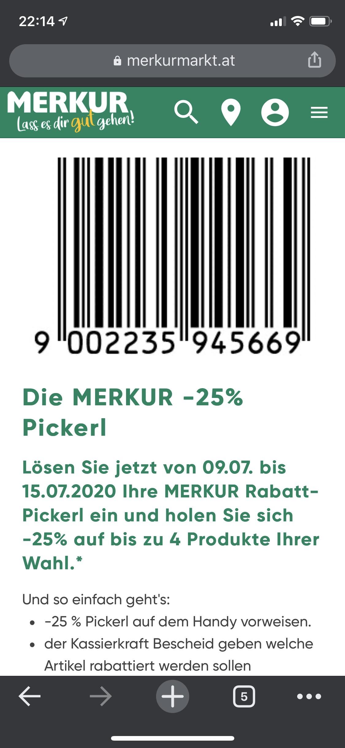 Merkur -25% Pickerl (09.07 - 15.07)