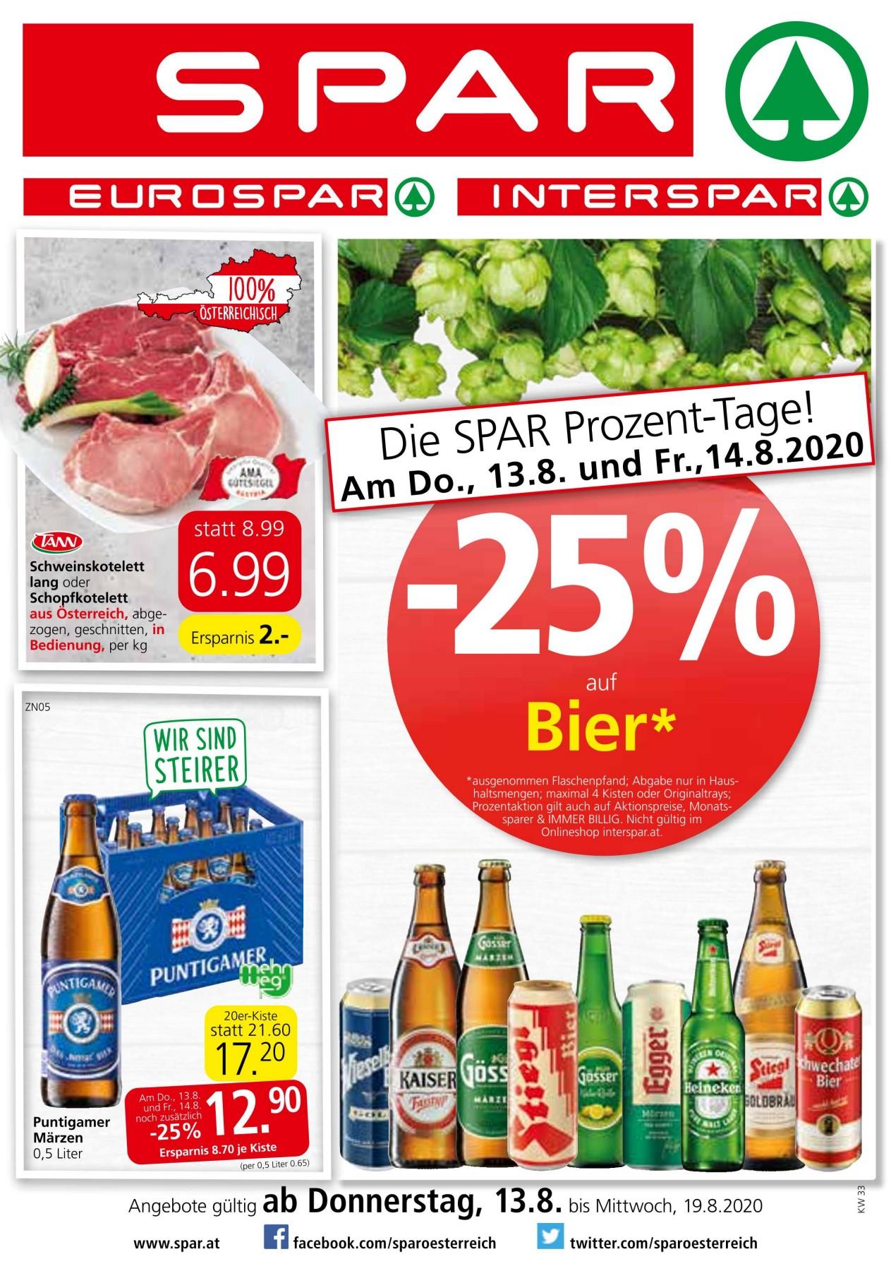 -25% auf Bier bei Spar, Eurospar und Interspar