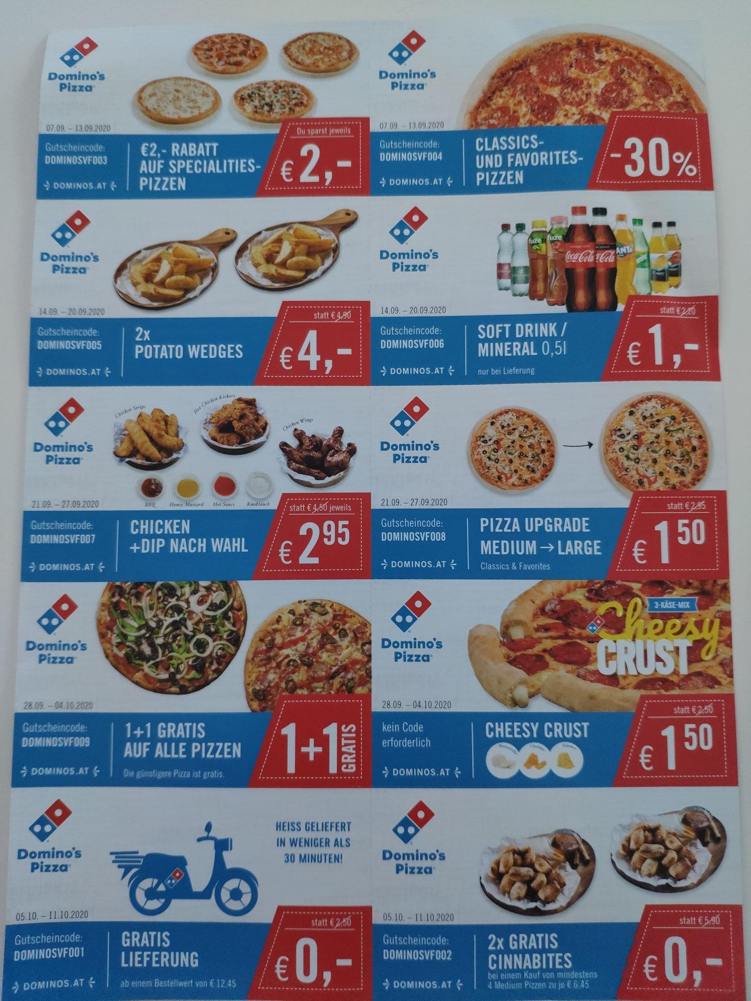 Dominos Pizza 1+1 Gratis, Gratis Lieferung, etc...