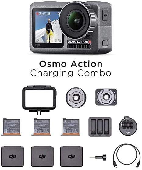 DJI Osmo Action-Cam - Digitale Actionkamera (2 Displays, 11m wasserdicht, 4K HDR-Video, 12MP, 145° Winkelobjektiv Kamera) Charging Combo Kit