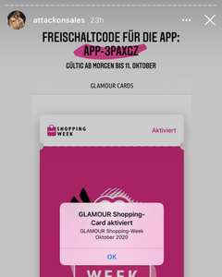 Freischaltcode GLAMOUR Shopping Week App