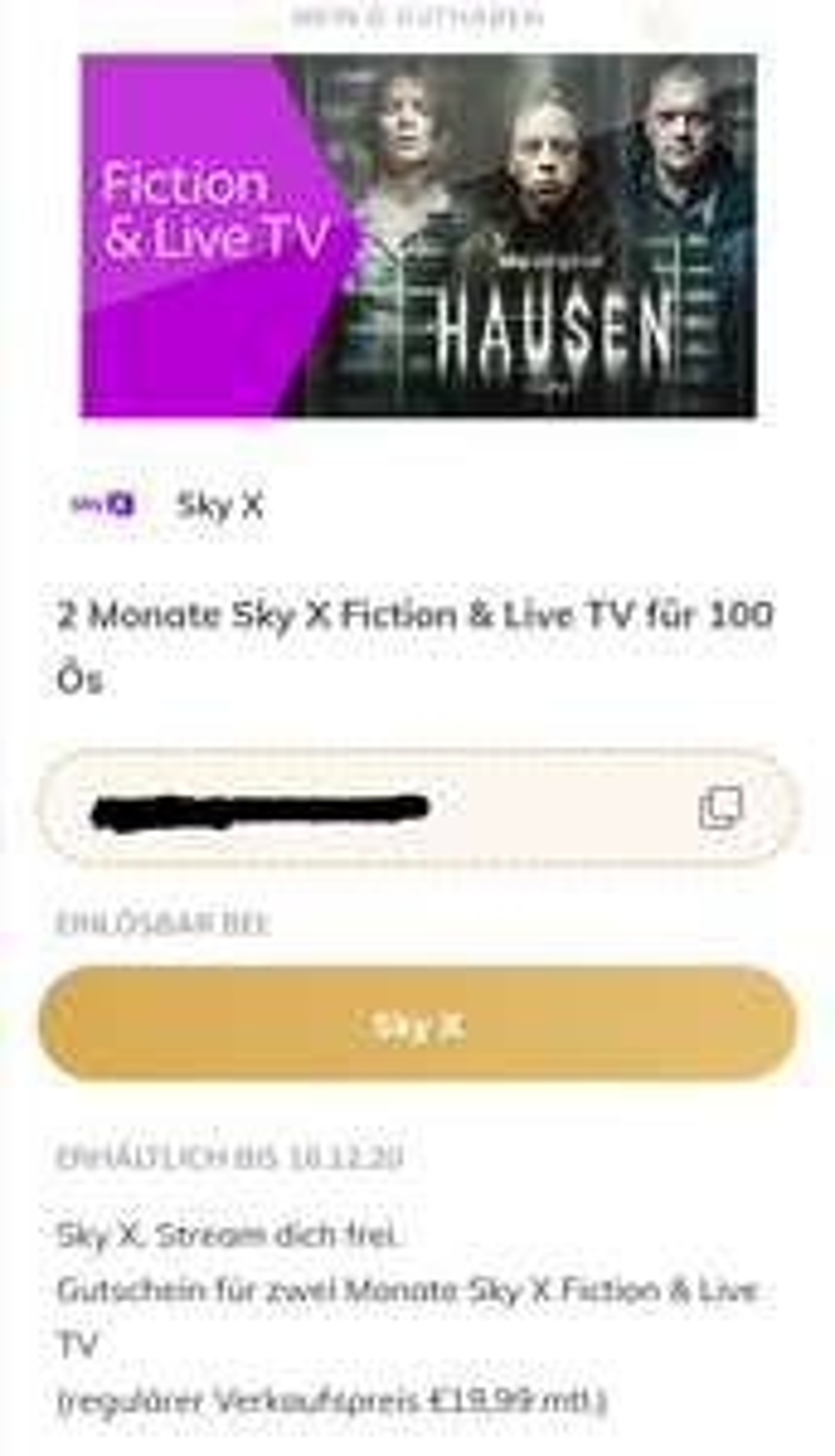 Sky X Fiction & Live TV 2 Monate für 100 Ös