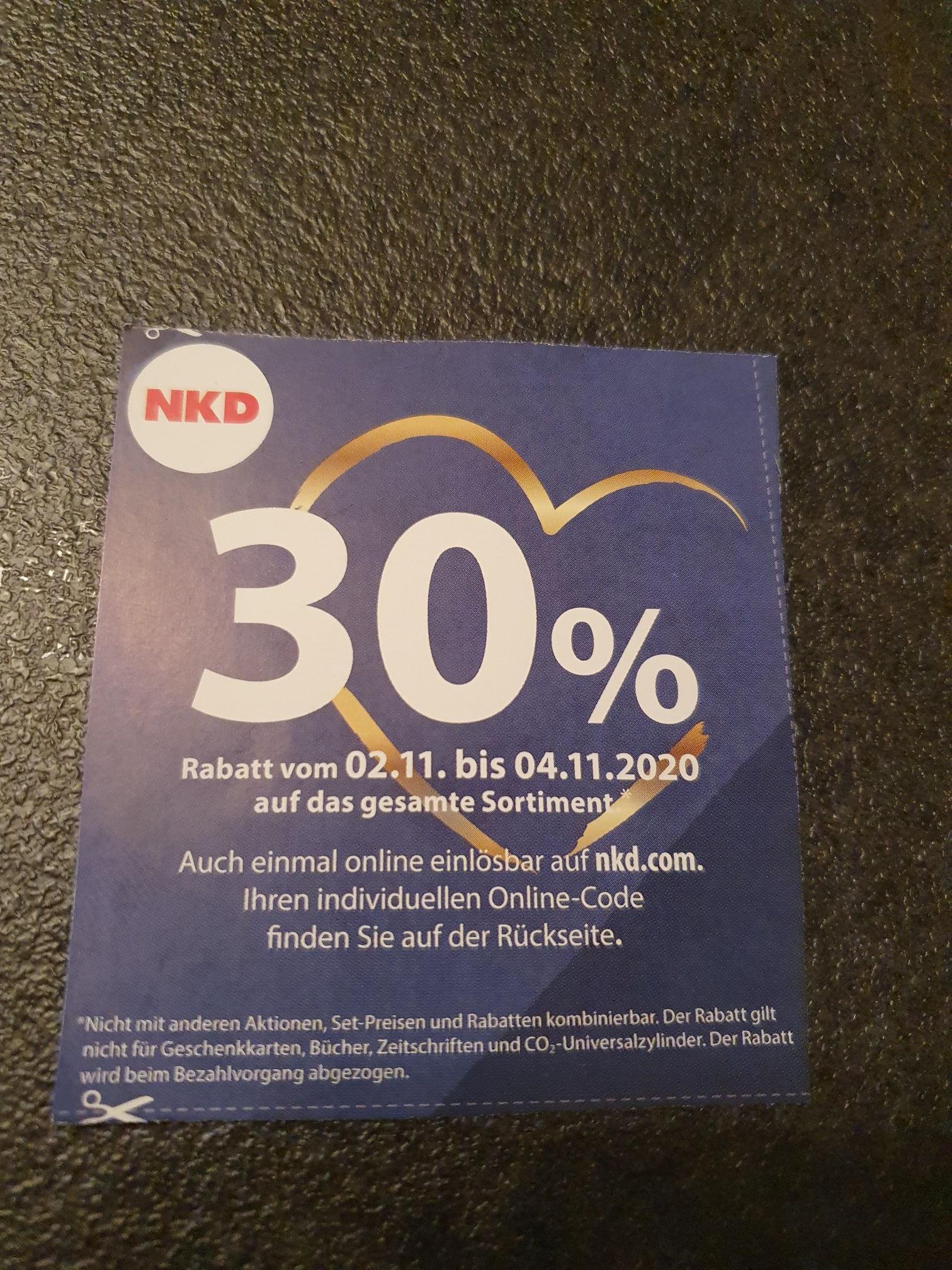 NKD -30% Online Gutschein vom 02.11- 04.11 2020