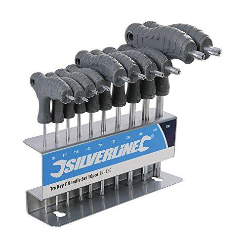 Silverline 328015 Trx-Stiftschlüssel mit Quergriffen, 10-Teilig