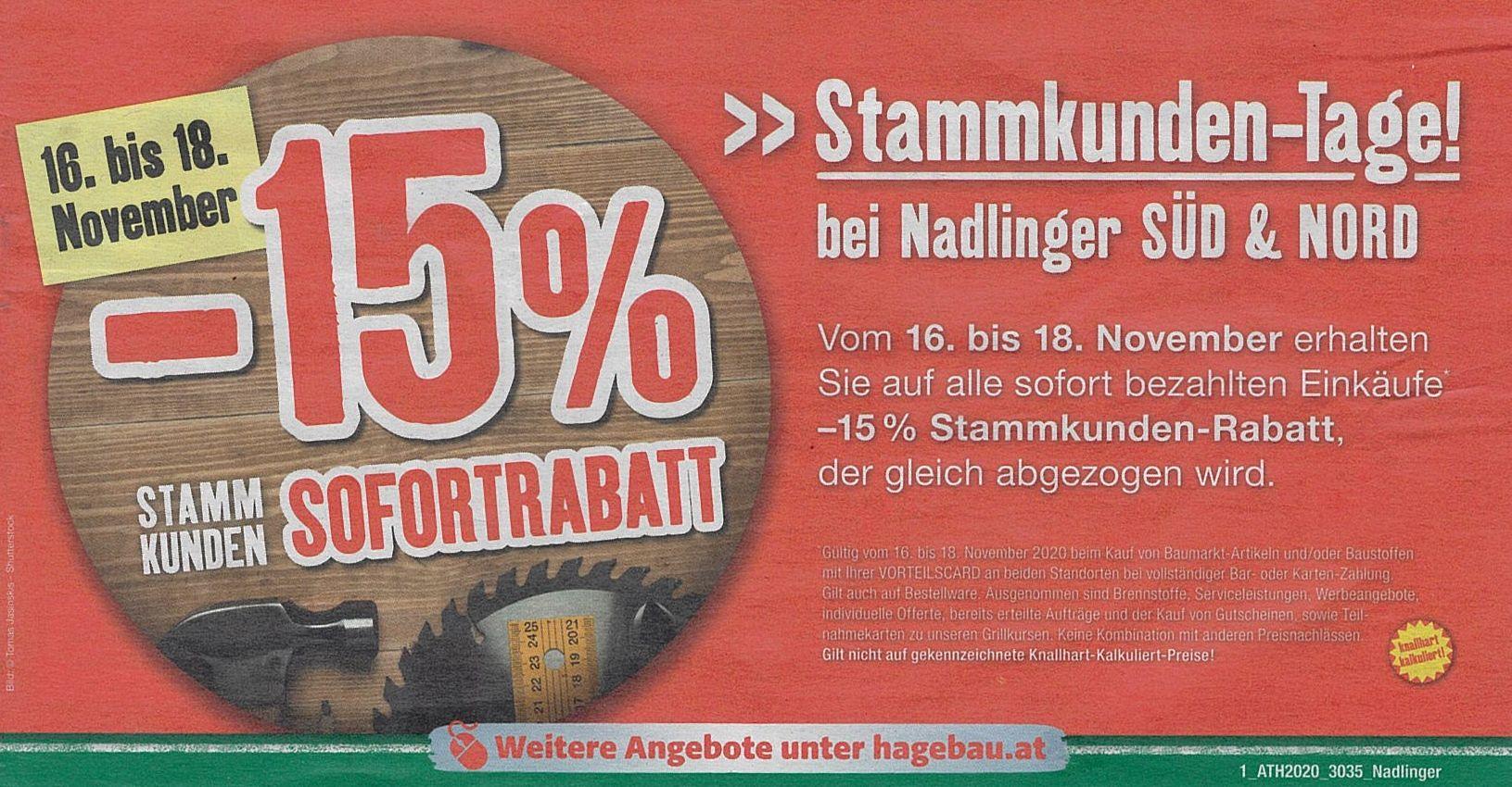 [Lokal] Hagebaumarkt ÖBAU-Nadlinger St.Pölten: -15% Stammkundentage 16.11. - 18.11.