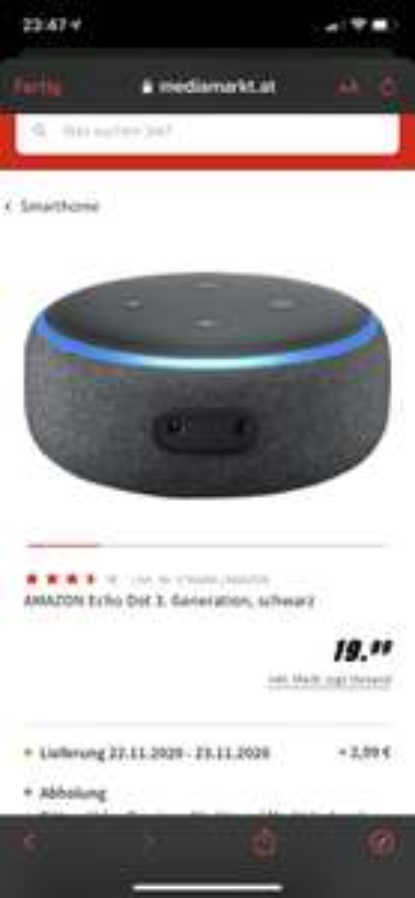 (Mediamarkt) Amazon Echo Dot 3. Generation