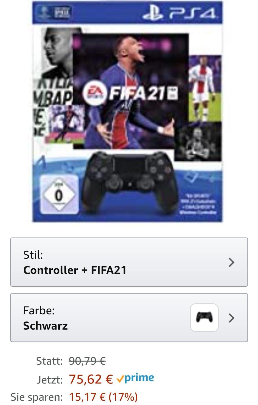 PlayStation 4 - DUALSHOCK 4 Wireless-Controller Jet Black mit EA Sports FIFA 21 PS 4 Voucher (inkl. kostenlosem Upgrade auf PS 5