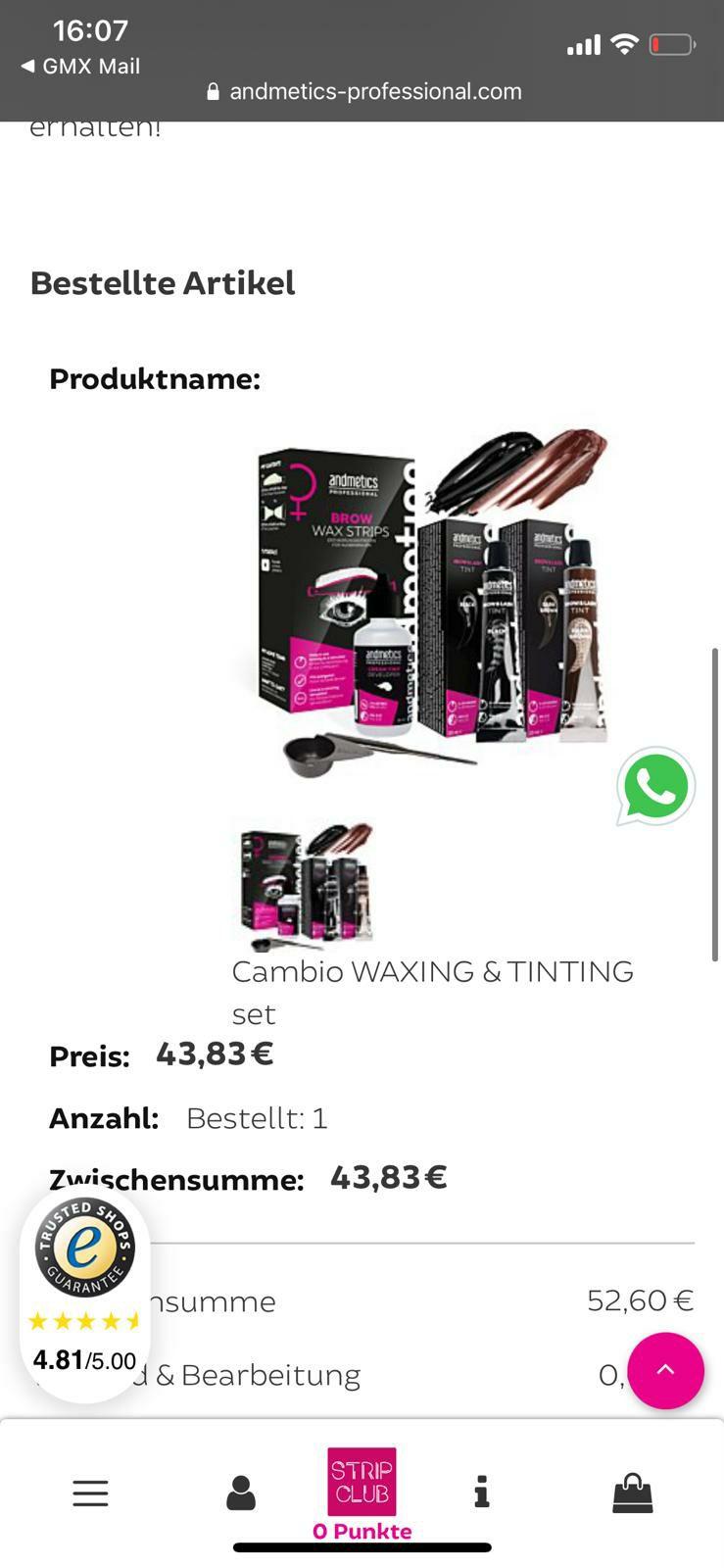 Andmetics & Cambio: Waxing & tinting Set gratis