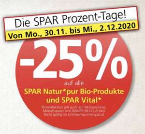 -25% auf Spar Natur*pur Bio + Spar Vital Produkte