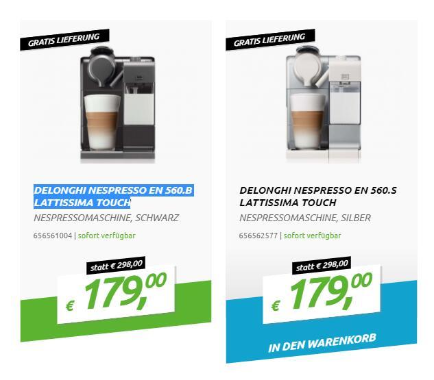 DELONGHI Nespresso EN 560 LATTISSIMA TOUCH (schwarz und weiß) +60€ Kapselgutschein!