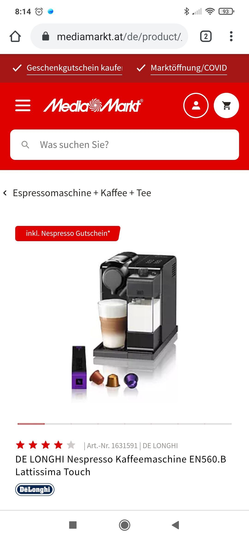 NESPRESSO Lattissima One mit Newsletter-Anmeldung, Effektivpreis nach Abzug von Gutscheinen €99
