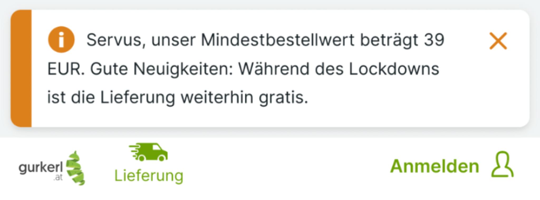 Gurkerl.at: Gratis Zustellung (39,- MBW) während Lockdown (Wien + Umgebung)