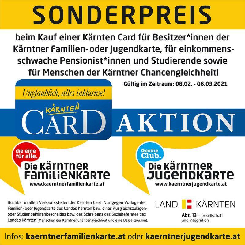 Kärnten Card zum Sonderpreis für Besitz der Kärntner Familienkarte