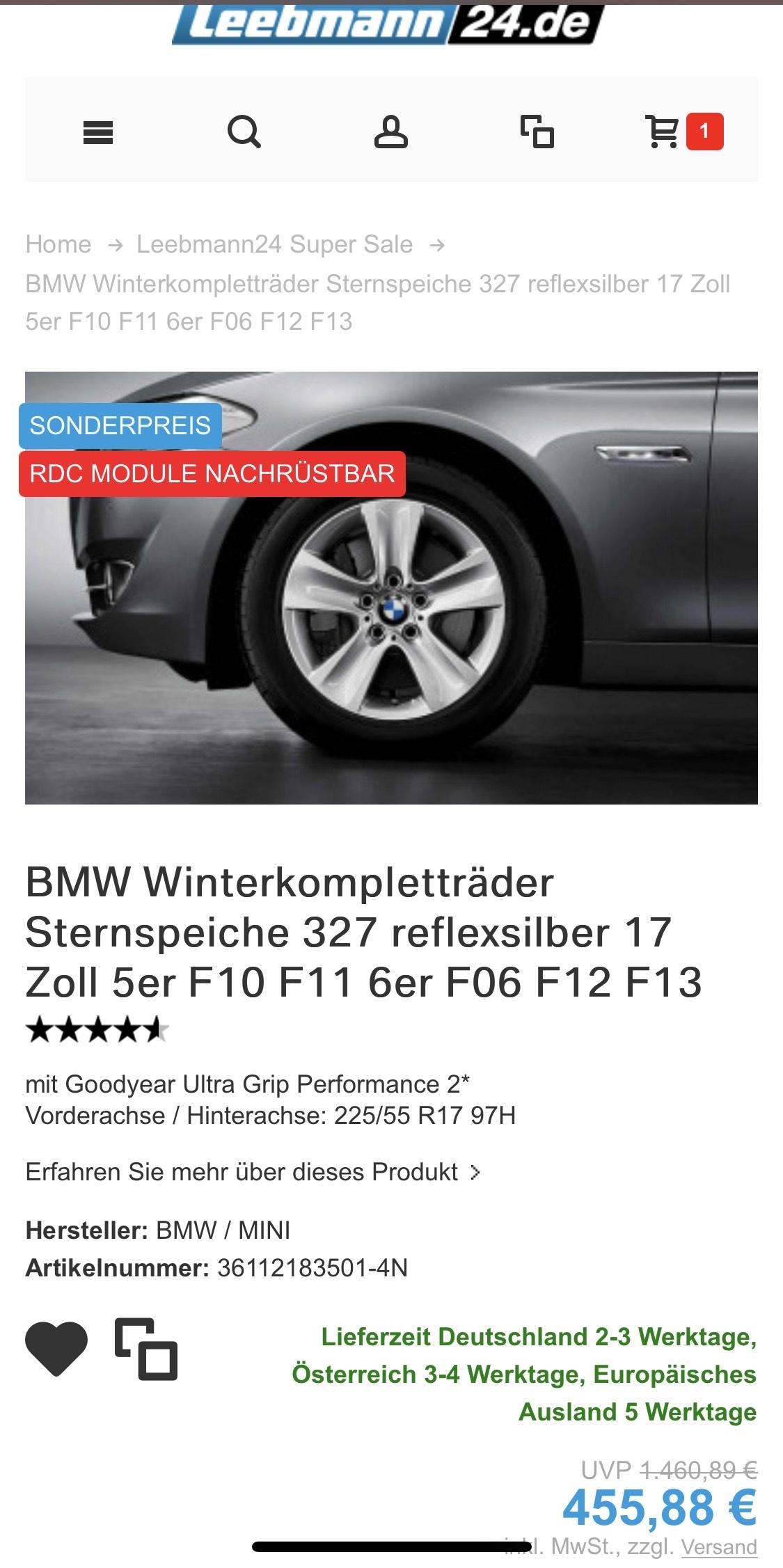 BMW Winterkompletträder 225/55 R17 97H inkl. Felgen