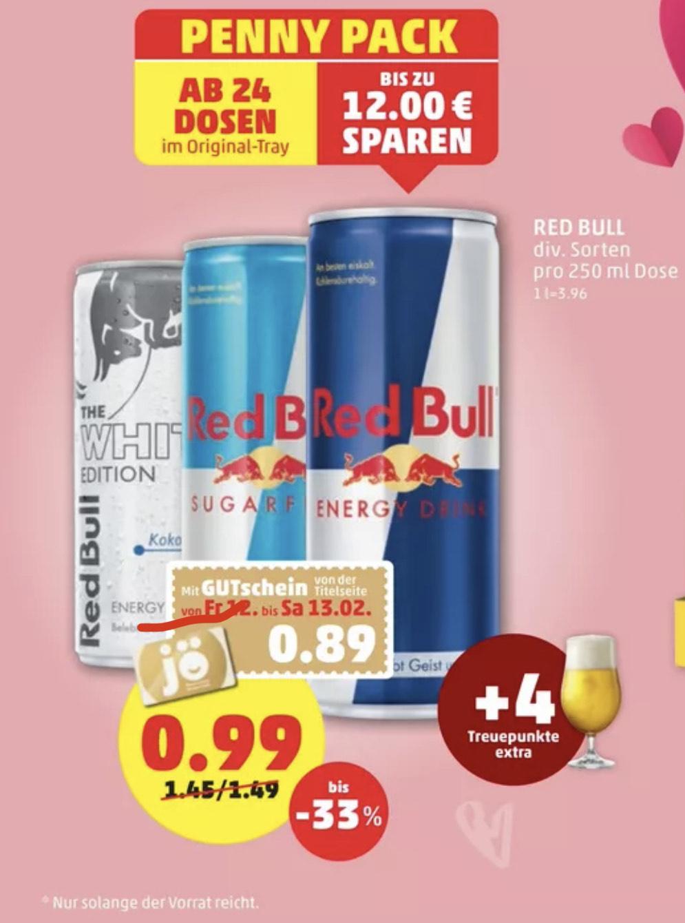 Penny - Red Bull für 0,89€ pro Dose ab 24Stk.