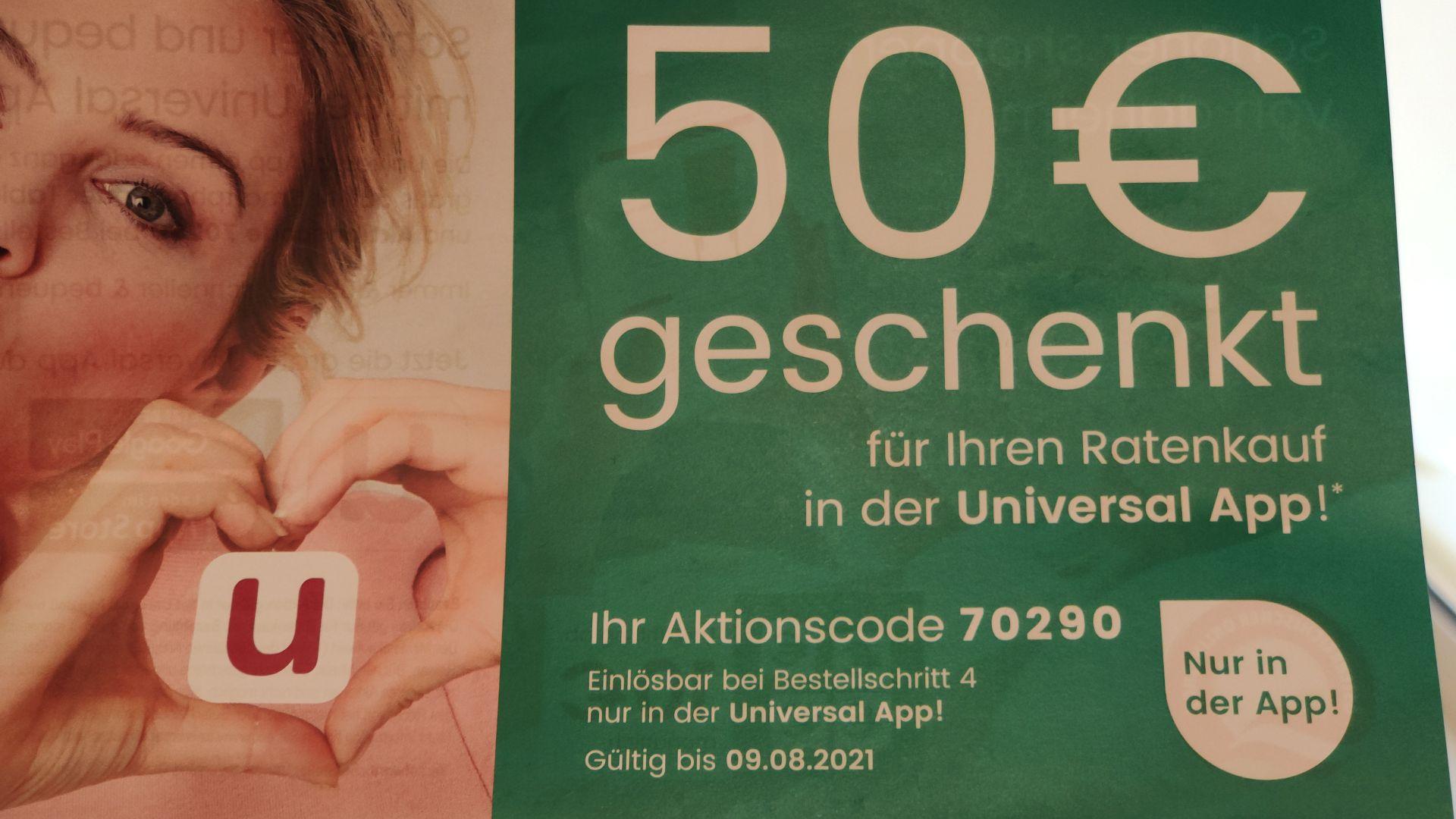 50 € geschenkt bei Ratenkauf ab 200 €