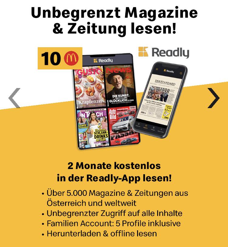 McDonalds App - 2 Monate readly für 10 Ms