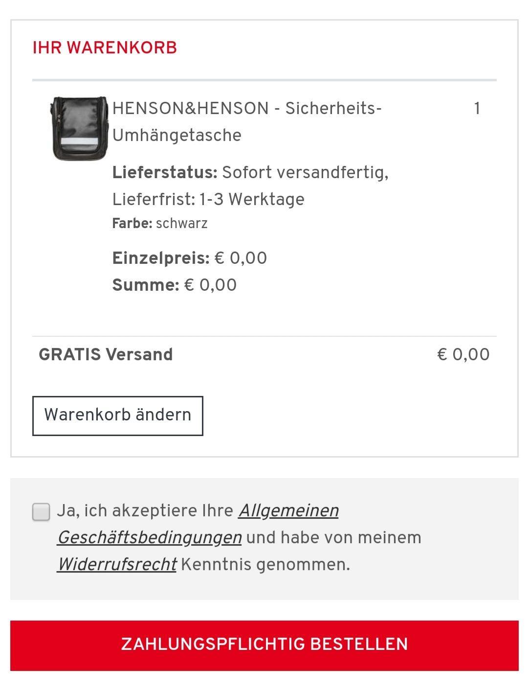 (Preisfehler?) GRATIS Henson&Henson Umhängetasche