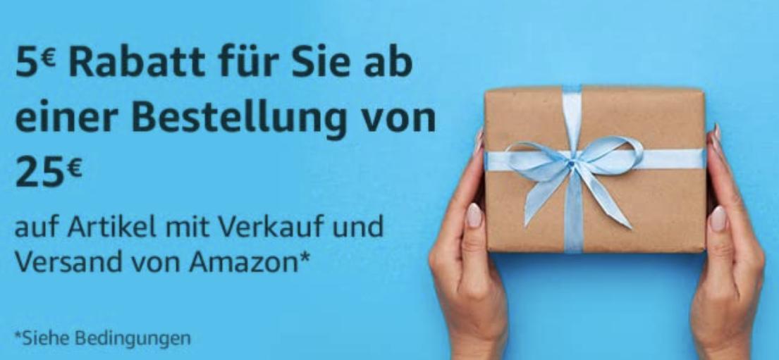 Amazon Lotterie: 5€ Rabatt ab 25€ Einkaufswert