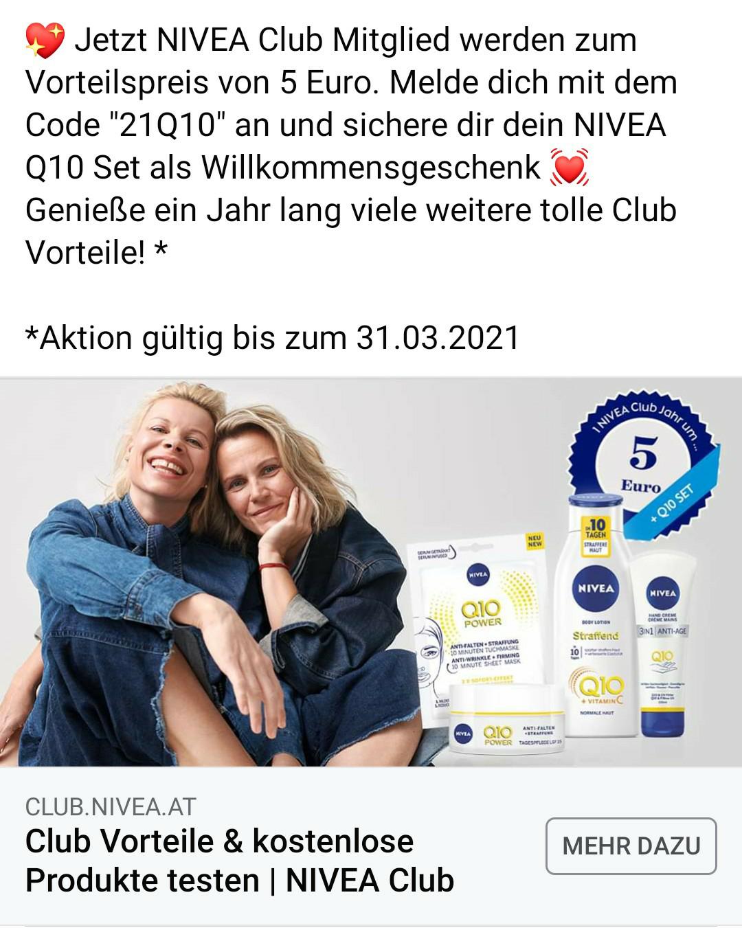 1 Jahr NIVEA Club Mitgliedschaft und Q10 Set um 5€