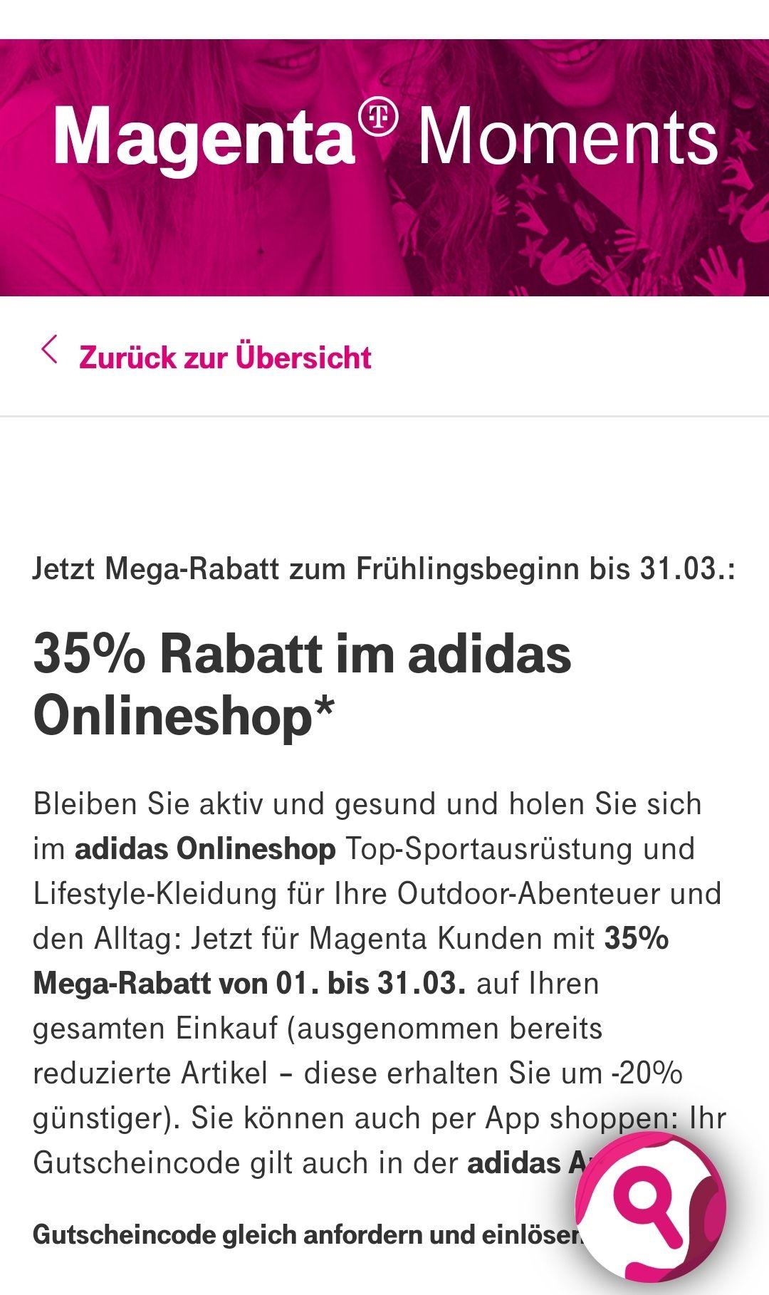 -35% im Addidas Onlineshop für Magenta Kunden