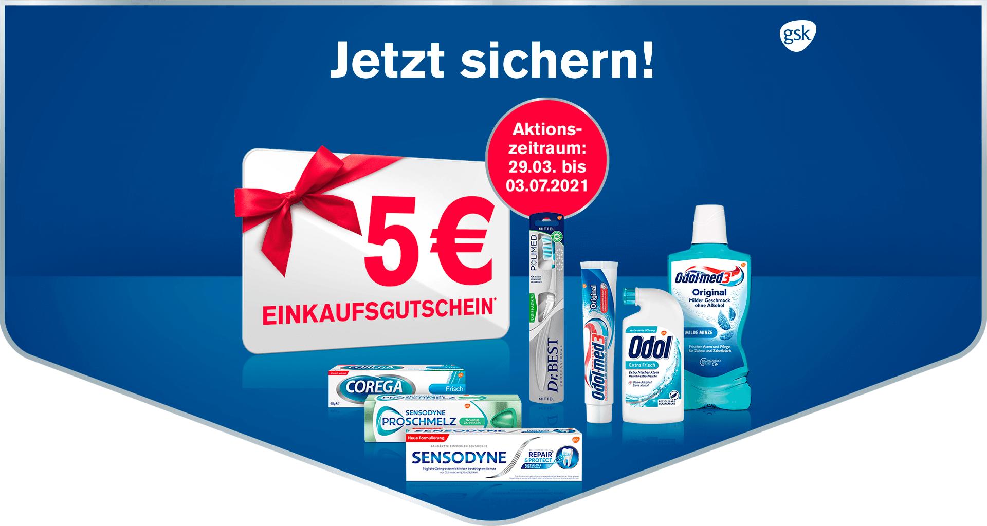 GSK 5 EUR Gutschein ab 10 EUR Einkauf von SENSODYNE, SENSODYNE PROSCHMELZ, Dr.BEST, Odol-med3, Odol und COREGA