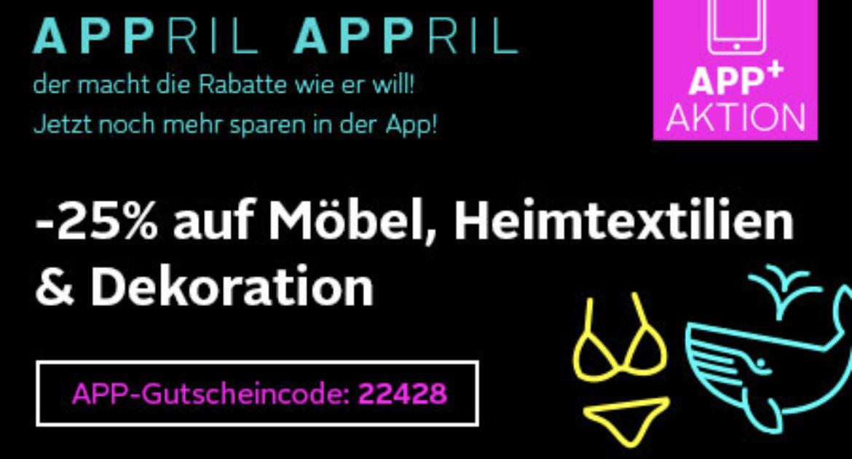 Otto App: 25% Rabatt auf Möbel, Heimtextilien und Dekoration